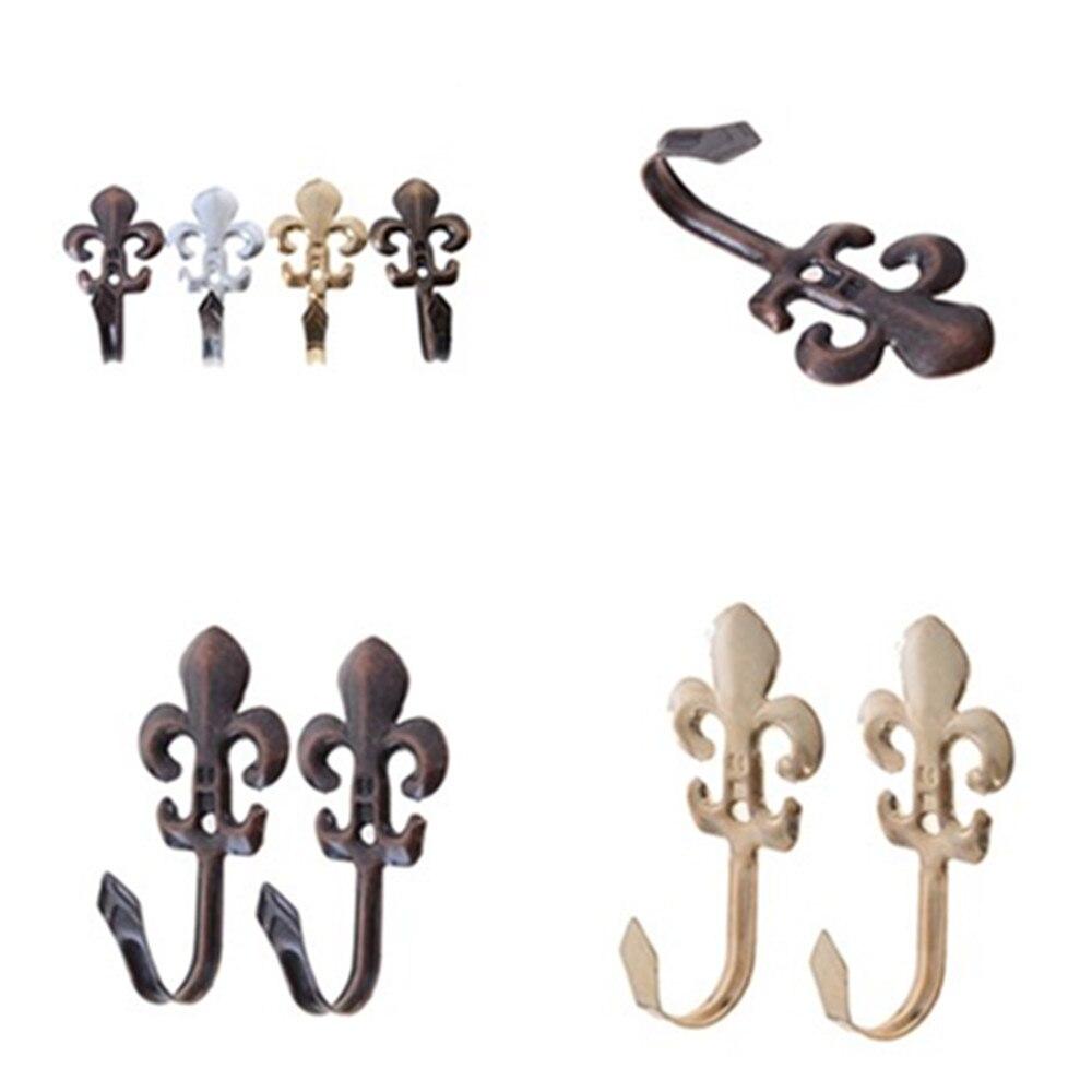 1 Pair Vintage Hooks For Clothes Coat Hat Bag Towel Hanger Bathroom Wall Hook Plum Blossom Style Antique Hanger Hook