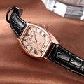 Top Senhoras Marca de Luxo Relógio de Quartzo Moda Mulheres Relógio de Ouro Preto de Couro relógio de Pulso Relógio Relogio feminino Relógio de Presente do Amante