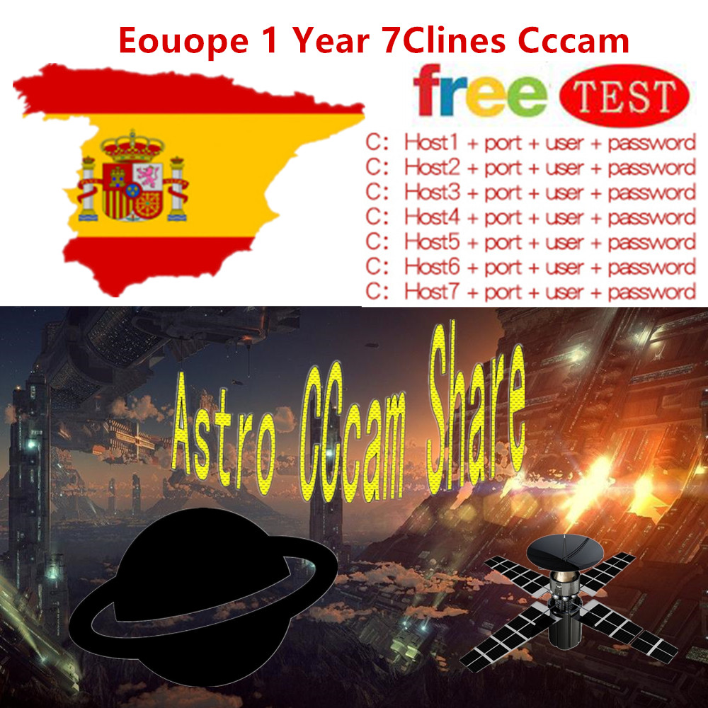 Fast and Stable Europe 1 Year 7 Clines CCcam Services Europe Spain UK Card Mgcam Oscam