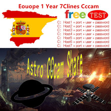 Fast and Stable Europe 1 Year 7 Clines CCcam Services Europe Spain UK Card Mgcam Oscam Cline Satellite TV Receiver set top boxes