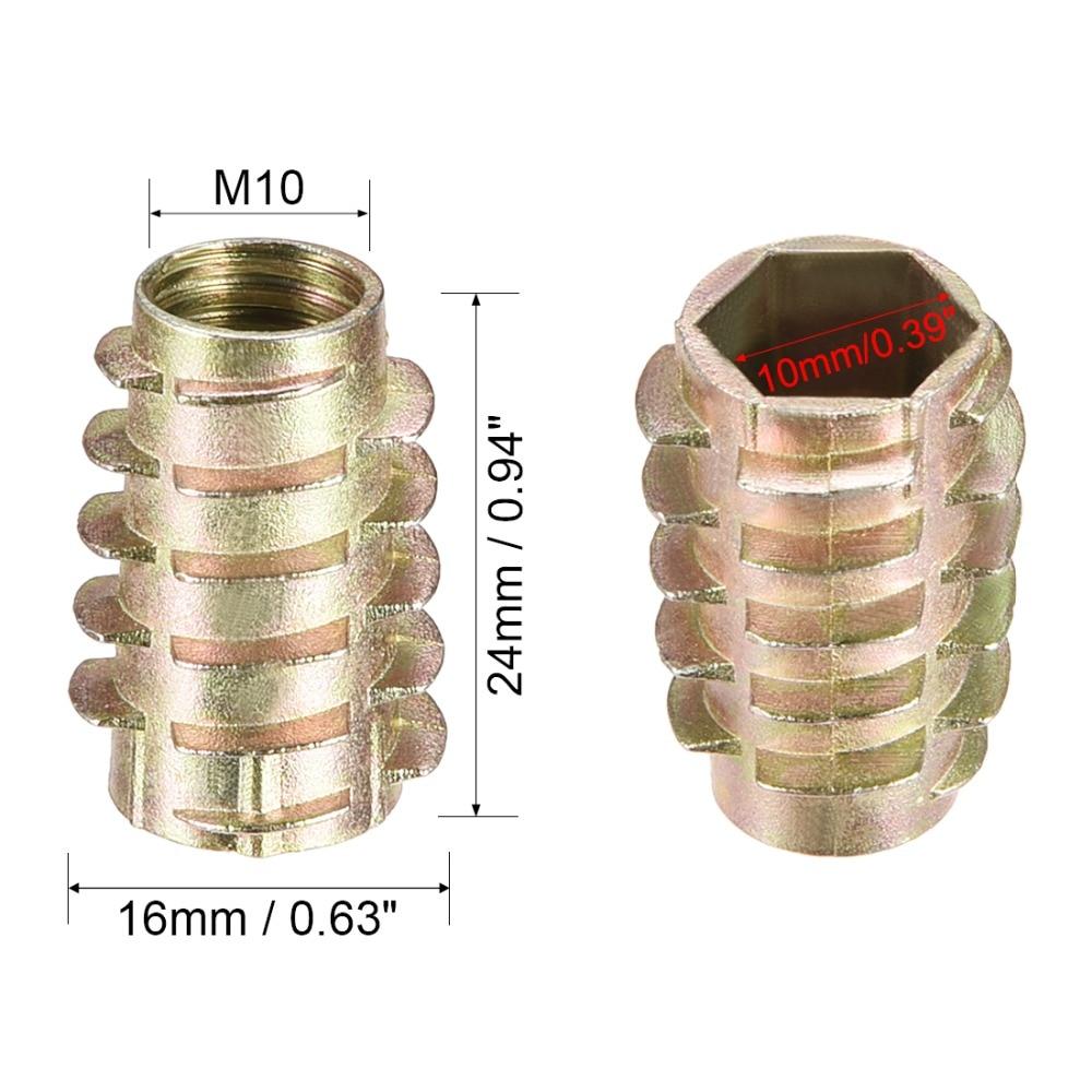uxcell Threaded Insert Nuts Zinc Alloy Hex-Flush M6 Internal Threads 20mm Length 30pcs