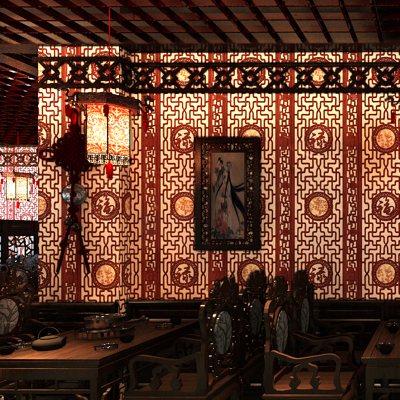 Chinese Classical Wallpaper For Study Living Room Walls Imitation Wood Carved Window Grille  Washable Restaurant Wall paper Roll
