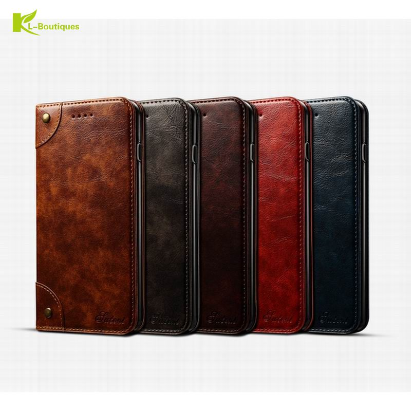 KL-Boutiques Genuine Leather Case for iphone 6 6S 7 Plus Real Leather Flip Cover Wallet Phone Pouches Stand Cases