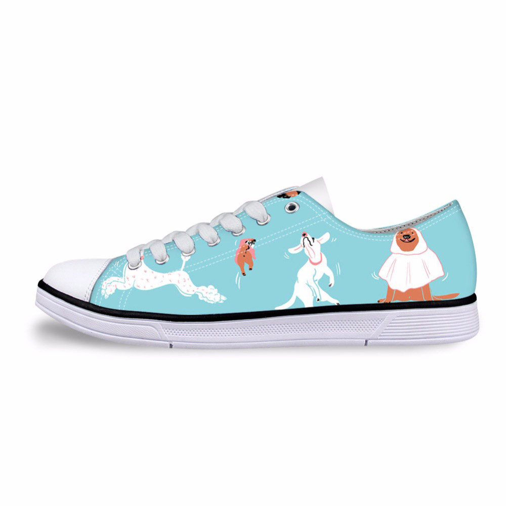 Fashion Women Low Top Canvas Shoes Classic Female Dog Pattern Vulcanized Shoes Ladies Bulldog Print Casual Shoes Woman Sneakers
