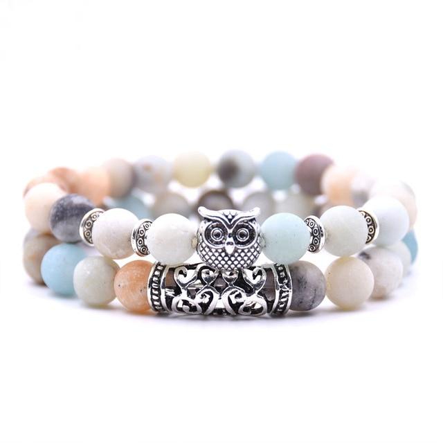 Natural stone animal owl  bracelets For Women Men Cool hot Selling