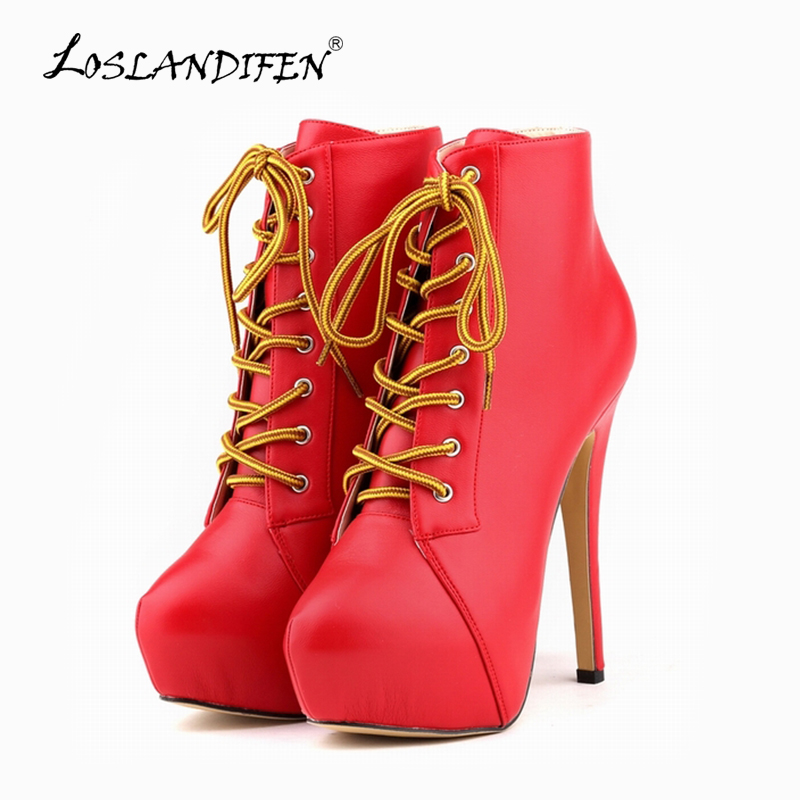 LOSLANDIFEN Ladies Ankle Boots Matt Leather High Heels Lace Up Women Boot Platform Stiletto Autumn Winter Party Shoes Red819-1MA коммутатор hp 2530 8g j9777a j9777a