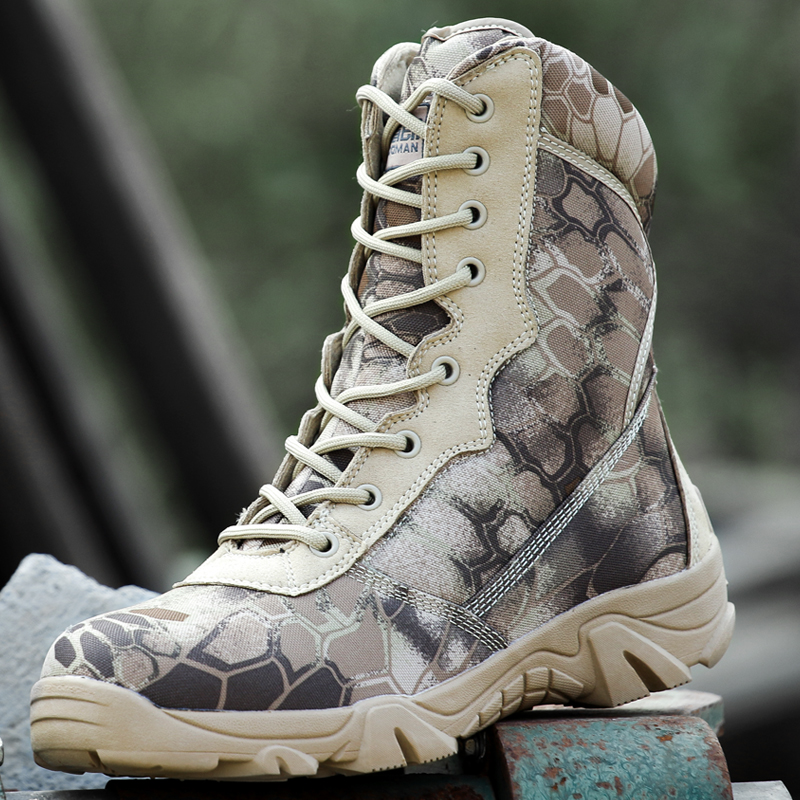 Military tactical combat waterproof boots Army men ankle desert boots Autumn spring travel hiking Outdoor climbing shoes,2 Color