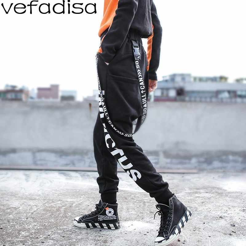 Vefadisa 2018 Hip-hop Pants for Women Plush Winter Sports Pants Letter  Printing Trousers Woman BF Removable Sling Pants ZLD062