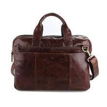 Vintage Genuine Leather Men's Briefcase Laptop Business Case Cow Leather Messenger Bags Men Shoulder Bag Crossbody Bag #MD-J7092