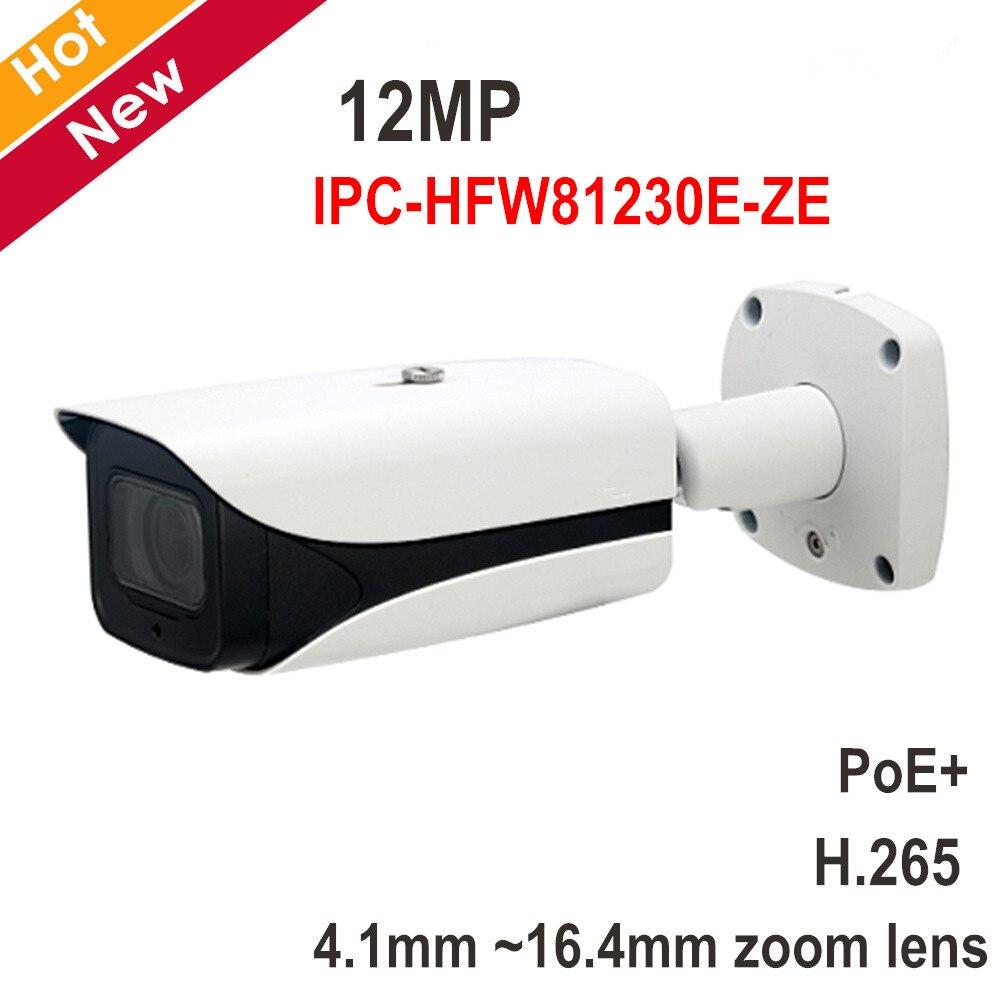 Nouvelle Arrivée 4 k 12MP DH IP Caméra IPC-HFW81230E-ZE IR Bullet Caméra 4.1mm-16.4mm objectif motorisé Soutien POE et carte SD 128g