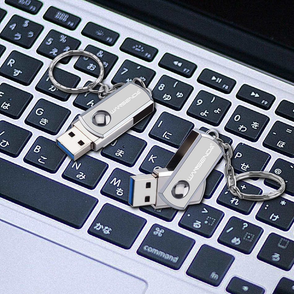WANSENDA USB 3.0 USB Flash Drive Metal Pen Drive With Key Ring 64GB 32GB 16GB 8GB 4GB External Storage Flash Drive 128GB Stick