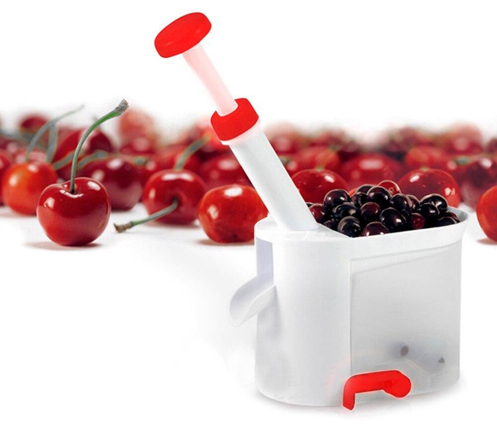 Novedad Super Fácil Cereza Pitter Cereza Fruta Core Seed Remover Fruit con recip