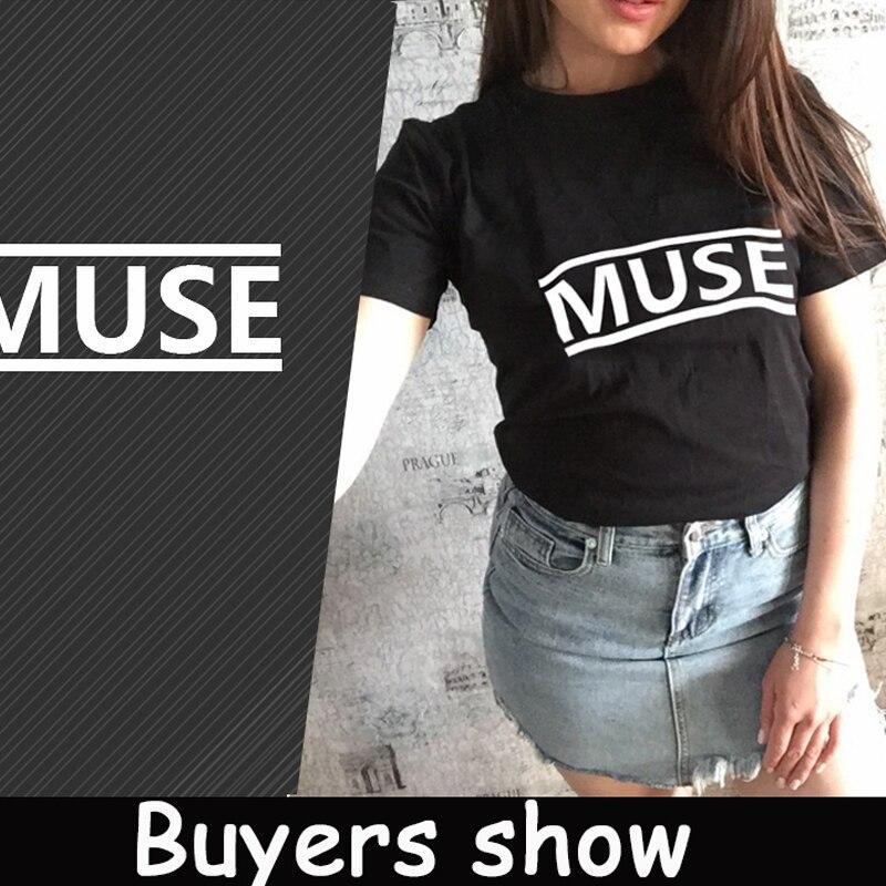 ONSEME MUSE Letter Printed TShirt Women Summer Tops T-shirt Harajuku Tee Shirt Female Casual Korean Style T Shirt Modis Q-14