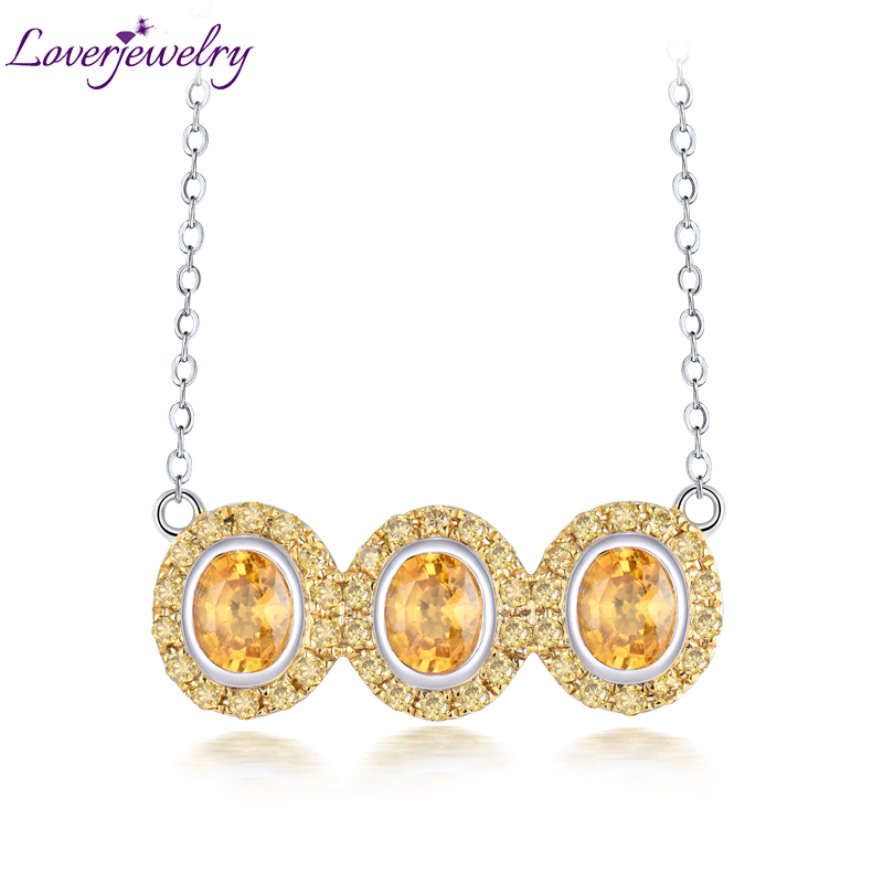 Loverjewelry Natural Gemstone Jewelry Solid 18K White Gold Yellow Sapphire Diamonds Pendants for Women Luxury Gift