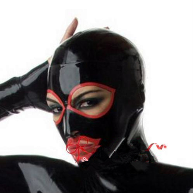 Buy New arrival Anatomical Latex Mask Black Rubber Fetish Latex Hoods Masks Condom Rubber Mask Hood customized catsuit costume sexy