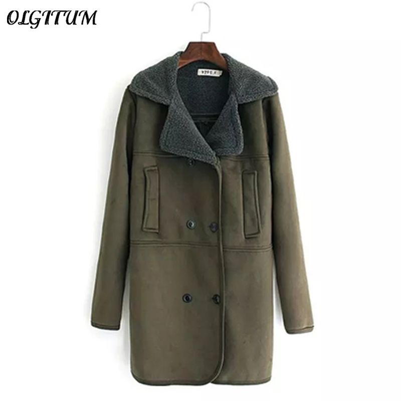 2018 Winter New Woman Suede Coat large size thicken warm Wool Coat long section lamb wool coat army green Parka 4XL