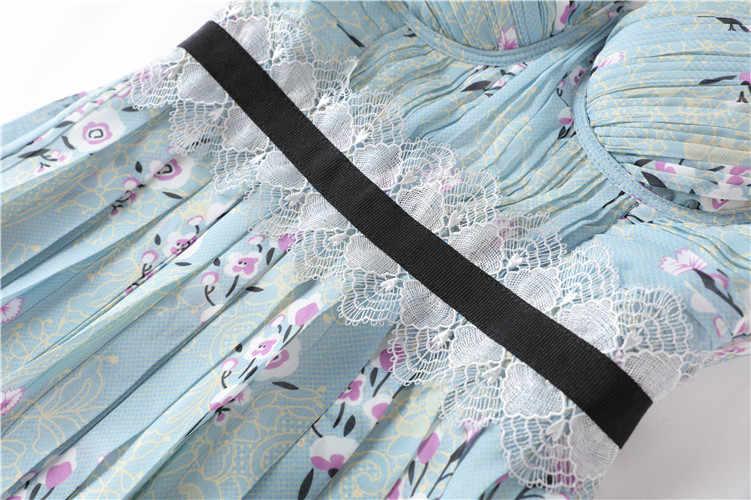 Truevoker дизайнерские платья женские высококачественные сексуальные с глубоким v-образным вырезом синие с цветочным принтом драпированные Женская одежда для вечеринки Ete