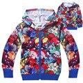Varejo novas crianças traje zip-up com capuz brasão 2017 casacos outerwear hoodies desenhos animados meninos meninas casaco de inverno criança bebê clothing