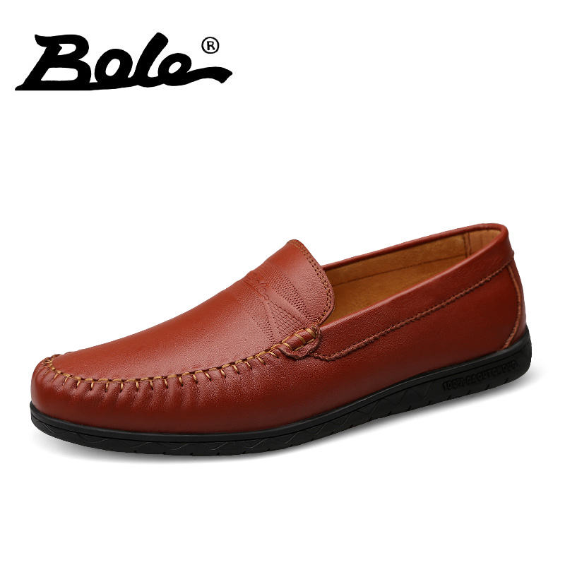 BOLE Handmade Leather Men Causal Shoes Autumn New Slip on Men Driving Loafers Fashion Comfort Men Leather Shoes Flats Men Shoes bole new handmade genuine leather men shoes designer slip on fashion men driving loafers men flats casual shoes large size 37 47