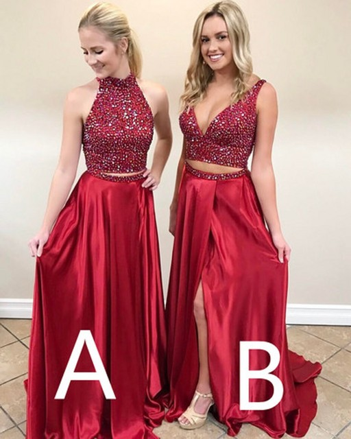 d3232e4b0e2 Sparkly Rhinestones Beaded Dark Red Prom Dress 2017 Two Pieces New Design High  Neck A line Side Split Evening Party Dresses