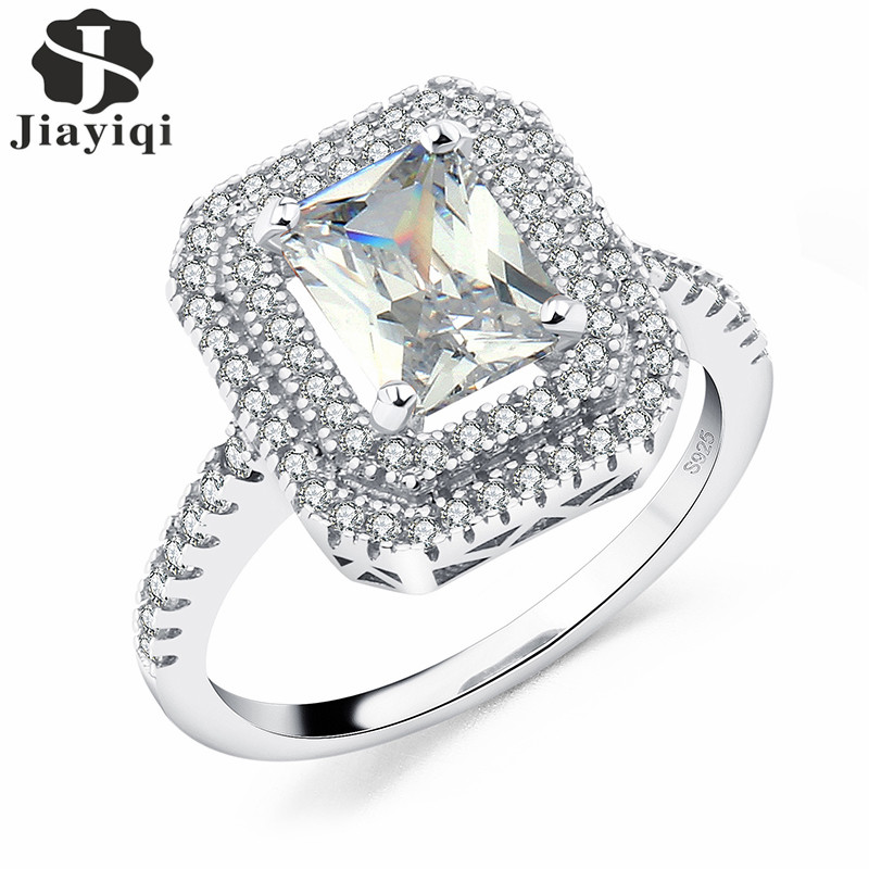 2017 Rings For Women Rose Gold Silver Color Engagement Big Square Crystal Stone Zircon Ring Women Wedding Bridal Size 7 8 9