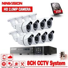 8CH 1080P AHD CCTV DVR System 8PCS Cameras 2.0 Megapixels Enhanced IR Security Camera with 1TB HDD