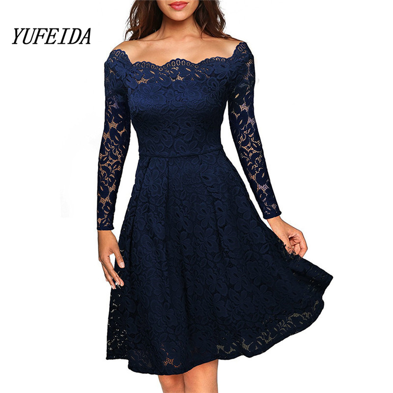 2017 Women Autumn Dress Wrist Bodycon Peplum Flower Lace Dress Floral Vestidos Slash Neck Sexy Evening Women Party Dress