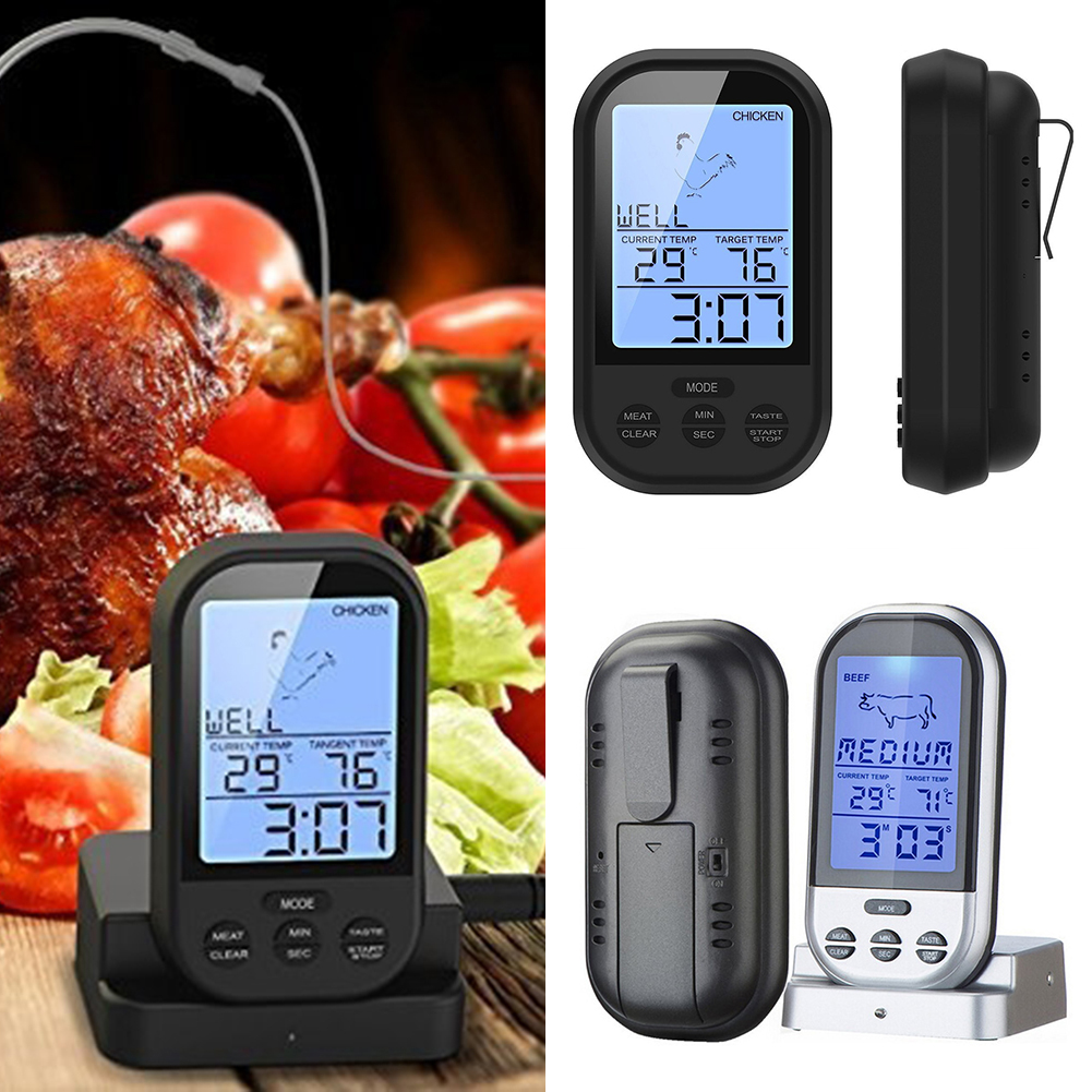 Wireless Digital BBQ Thermometer LCD Barbecue Timer Digital Probe Meat Thermometer With Temperature Alarm Drop Shipping