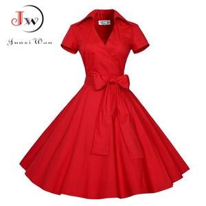 Image 4 - Summer Dress Women Polka Dot Vintage Swing Robe Rockabilly Housewife Retro 50s Pinup Cotton Mini Sundress Vestidos