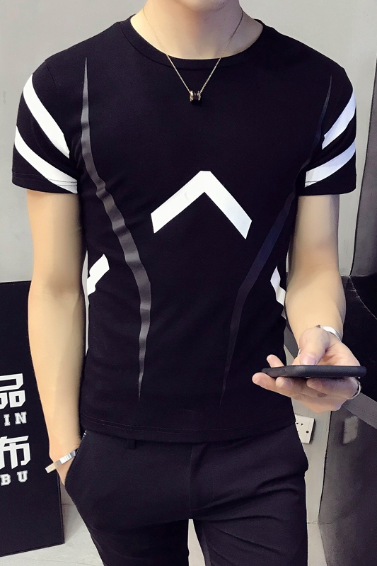2018 summer new Hong Kong Tsai wind short-sleeved T-shirt personalized printing casual small fresh men's tShirt Slim T-shirt me 1