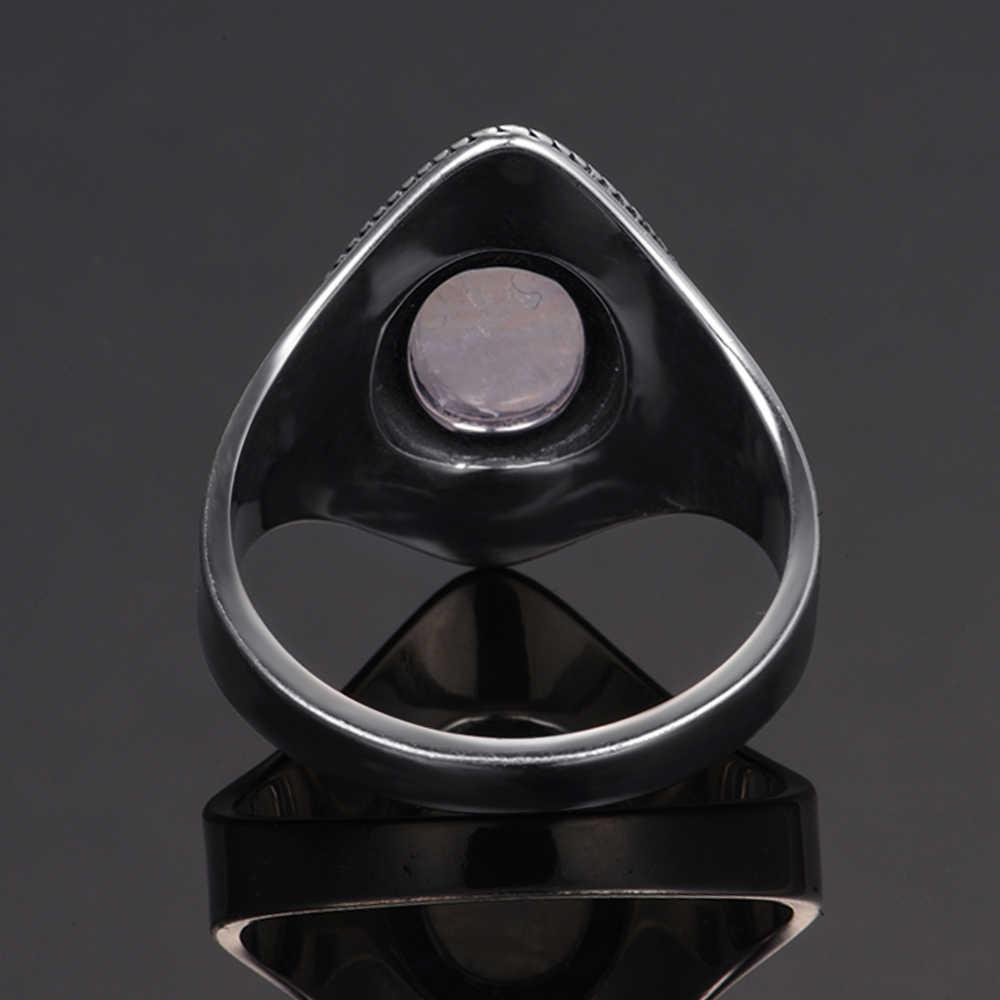 แบรนด์หรู VINTAGE แหวนผู้ชายผู้หญิงเงิน 925 เครื่องประดับคุณภาพสูงแหวนมูนสโตนปาร์ตี้ครบรอบของขวัญ