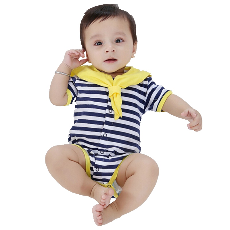Summer 2017 Navy Baby Boys' Rompers Infant Sailor Suit Jumpsuit Roupas Meninos Body Ropa Bebe Romper Newborn Baby Boy Clothes penguin fleece body bebe baby rompers long sleeve roupas infantil newborn baby girl romper clothes infant clothing size 6m