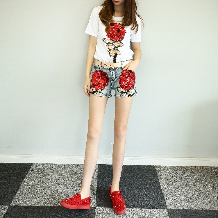 QA1203 High-end rose embroidery denim shorts Korean style women fashion sequined jeans shorts feminino