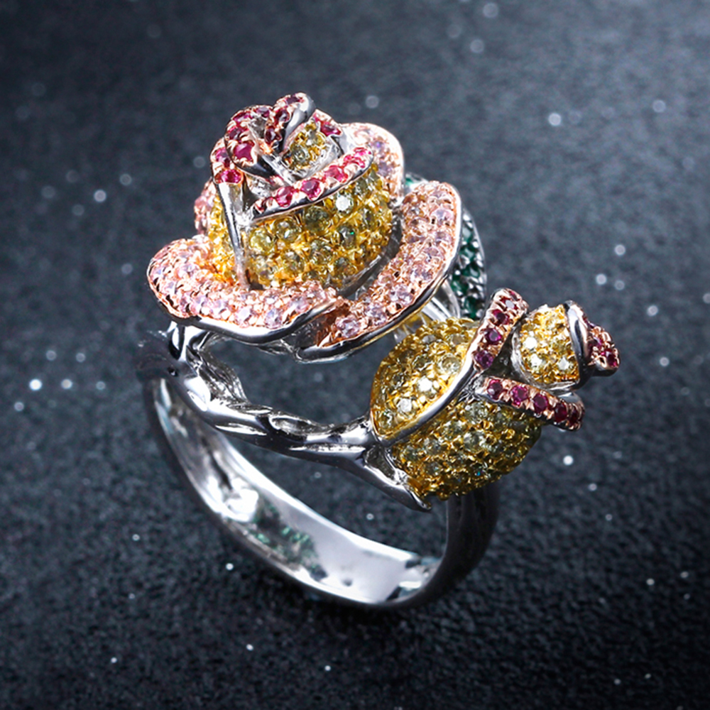 Luxury rose flower rings trendy jewelry fast shipping high quality color crystal large finger ring for