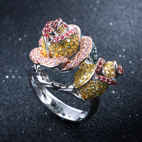 Luxury rose flower rings trendy jewelry fast shipping high quality color crystal large finger ring for women