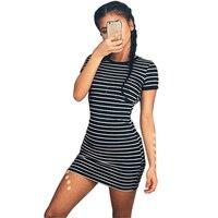 Striped Short Dresses All Matches Autumn Slim Wraps Short Sleeve Casual Sport Brief Ladies Dresses Plus