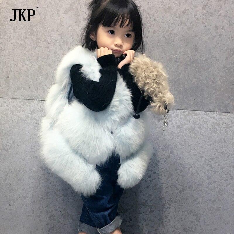 Качество меха лисы Жилет для Одежда для девочек осень зима для девочек детские жилеты детская верхняя одежда пальто