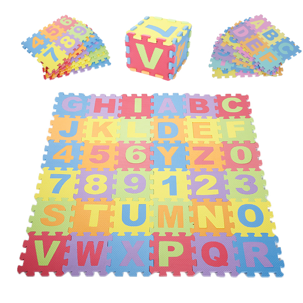 36pcs Baby Floor Play Mats Environmental EVA Numbers / Letter Foam Clawling Mat 15.5*15.5cm Thickened Puzzle Pad For Baby Games