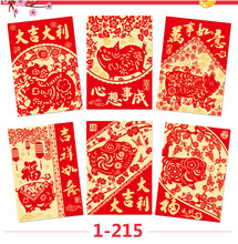 China Paper Cut Pig Design Red Packet 2019 Chinese Lunar New Year Envelope 10 Packs 60 Pcs 1 215