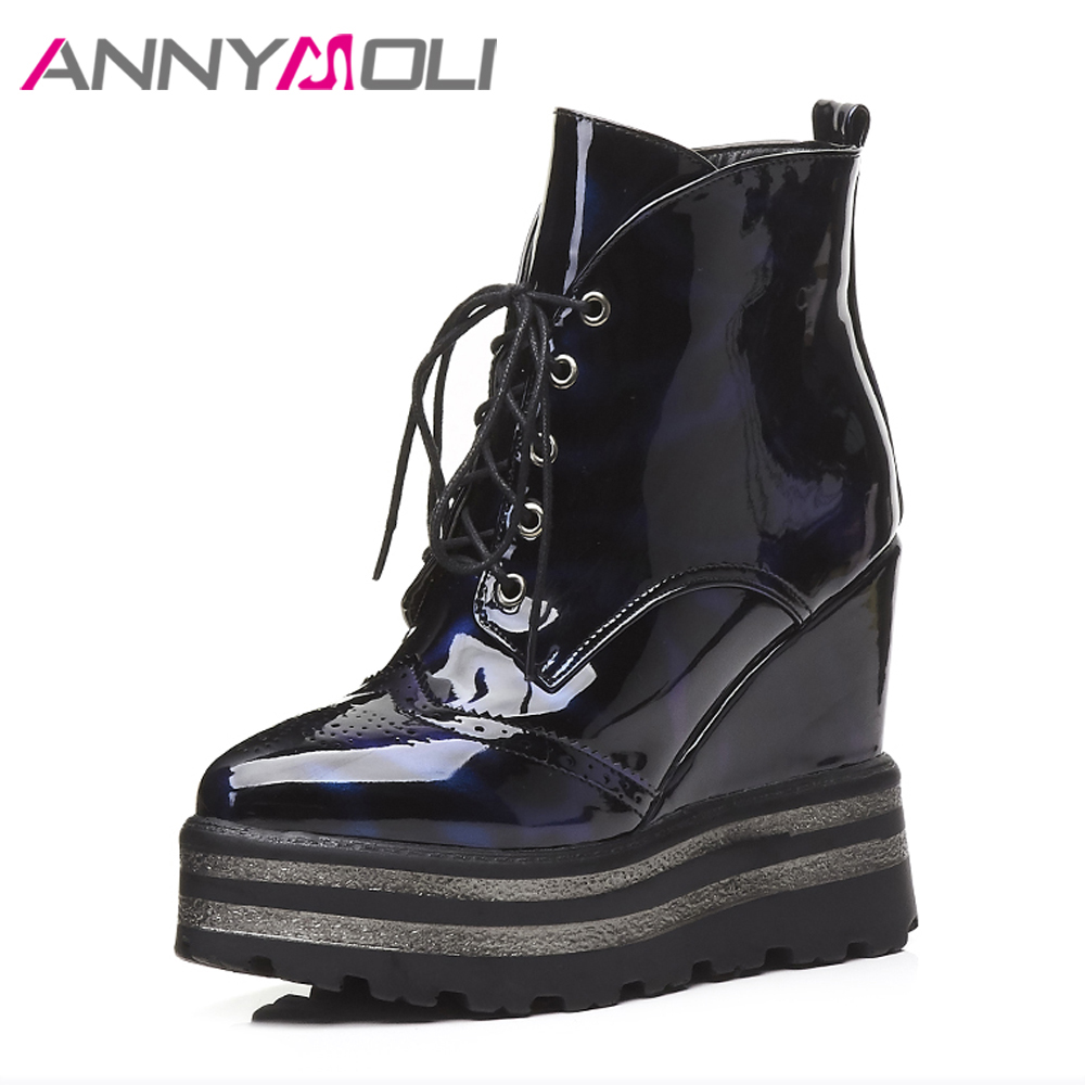 ANNYMOLI Women Boots Winter Platform Wedge Heels Ankle Boots Zip Female High Heel Boots 2018 Autumn