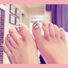 2019 new 24 PCS / box acrylic false toe nail silk screen twill black and white powder gray fake nail patch art boxed nails 24 pcs chic leopard pattern nail art false nails