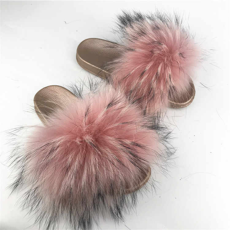 2019 real Red Raccoon Fur Sandals Women Slides Fox Hair Flat Fluffy Fashion Home Summer Big Size Natural Furry Flip Flops Shoes