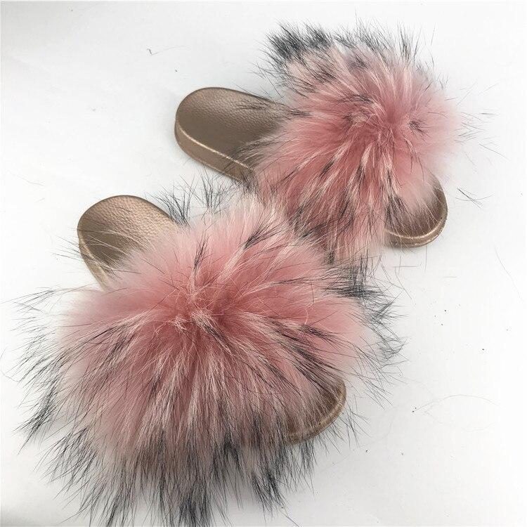 2019 Real Red Raccoon Fur Sandals Women Slides Fox Hair