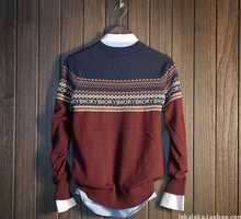 Fashion Long-sleeve British Style Men Sweater O-neck Geometric Contrast Color Cotton Pullover Knitted Sweater Men Clothing A3198