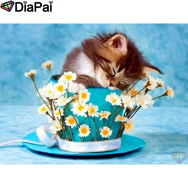 DIAPAI 100 Full Square Round Drill 5D DIY Diamond Painting quot Cup flower cat quot Diamond Embroidery Cross Stitch 3D Decor A19134 in Diamond Painting Cross Stitch from Home amp Garden