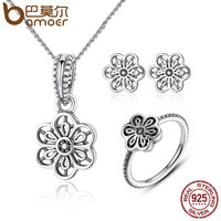 BAMOER Genuine 925 Sterling Silver Jewelry Set Vintage Flower Floral Daisy Lace Jewelry Sets Sterling Silver