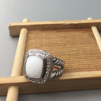 Brand Ring Woman Jewelry 925 Sterling Silver Jewery 11mm White Agate Ring