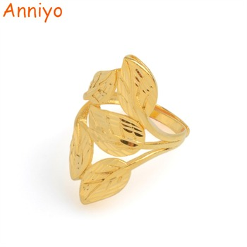 Anillo de hojas Anniyo tamaño libre para mujeres/señora etíope Color dorado hoja de árbol africano regalos de joyería #002825