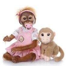 лучшая цена 21inch 52CM Silicone Monkey Reborn Doll Baby girl Dolls Soft Cotton Body Boneca Reborn Doll flexible Collectible art doll Gifts