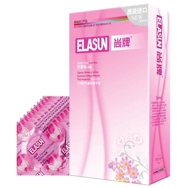 Elasun Condoms 144 Pcs Ultra thin Lubricated Condoms Dotted Pleasure for Her Natural Latex Rubber Adult
